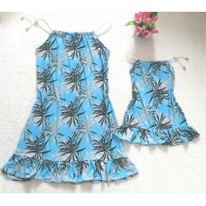 kit vestido azul folha alça