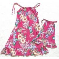 Kit vestido rosa flor lig