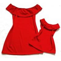 Kit vestido ciganinha vermelho liso