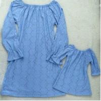 Kit  vestido laise malha forrado azul celeste