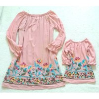 Kit vestido rose visco bordado